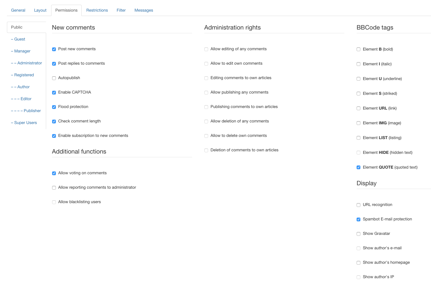JComments settings - Permissions tab