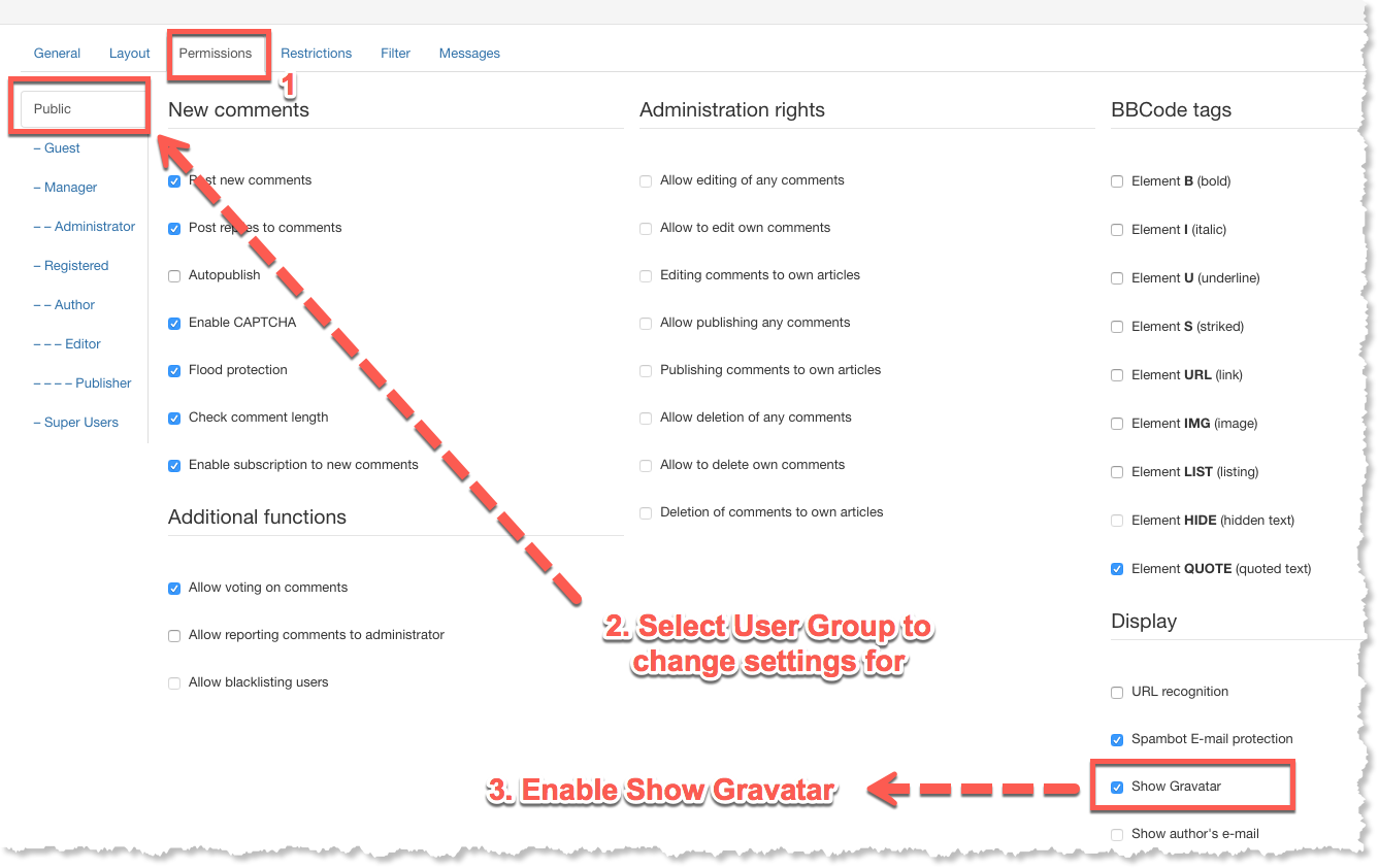 Enable Show Gravatar for User Group