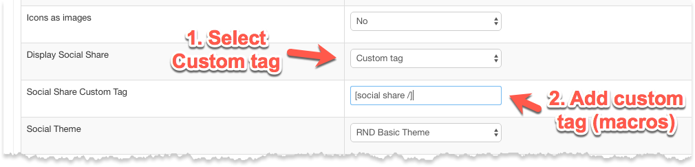 Custom Tag to Display Custom Social Share