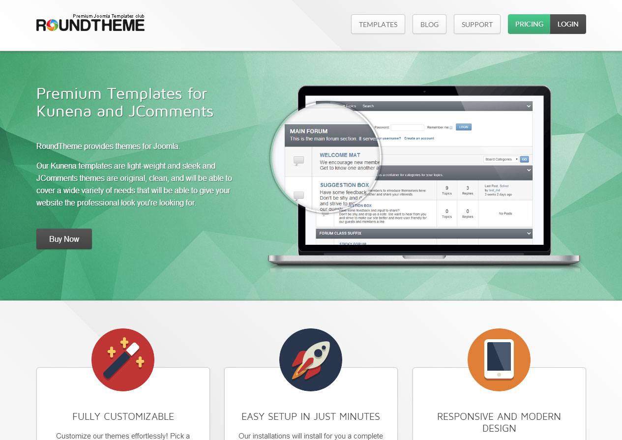 Kunena templates, JComments themes, AcyMailing templates and ZOO Apps