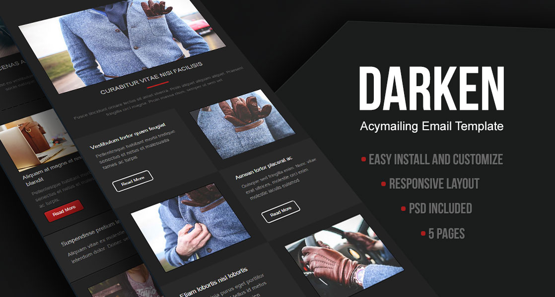 RND Darken Email Template for AcyMailing