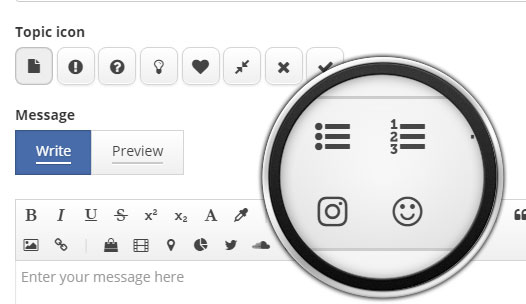 Vector icons in WYSIWYG editor