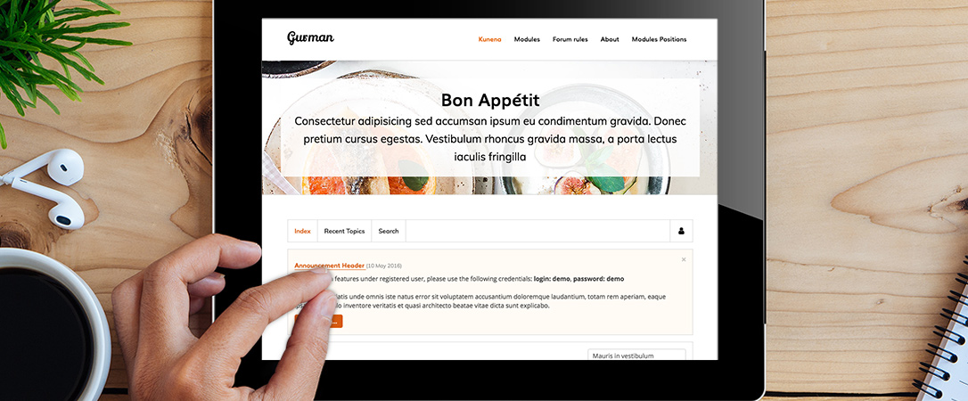 Kgurman - Kunena template for restaurant and cafe