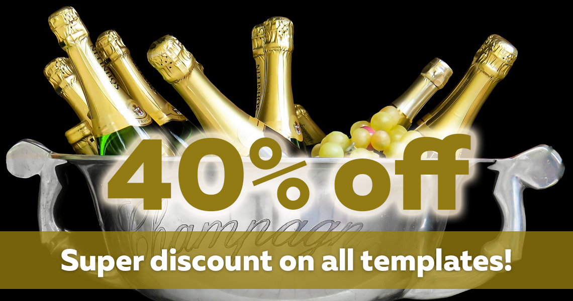 Super discount! 40% off on all templates