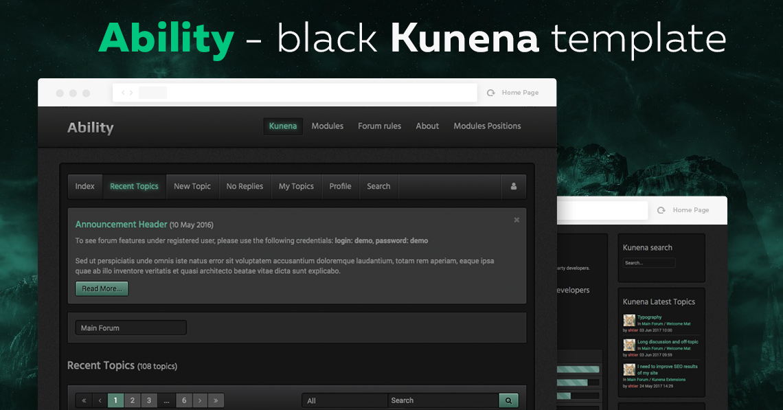 RND Kability Black Template is compatible with Kunena 5.1