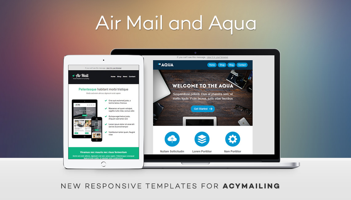 Air Mail and Aqua - new responsive templates for AcyMailing