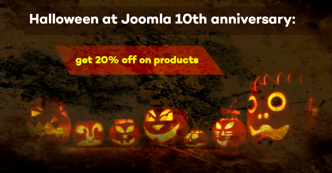 Halloween at Joomla 10th anniversary: get 20% discount on any plans and get bonuses from partners!