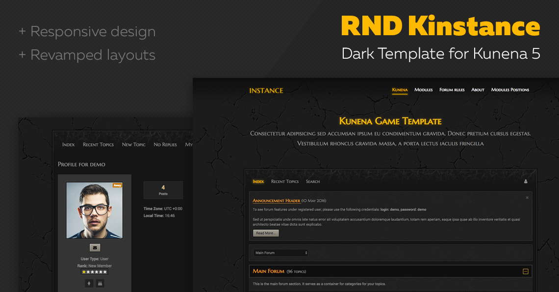 RND Kinstance - Dark Kunena template released