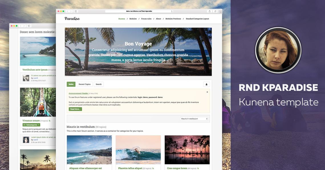 RND Kparadise - Travel Kunena template released