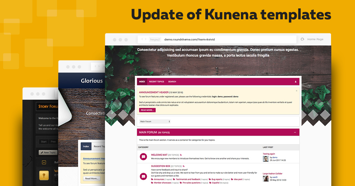 All Kunena templates from RoundTheme are compatible with Kunena 5.1