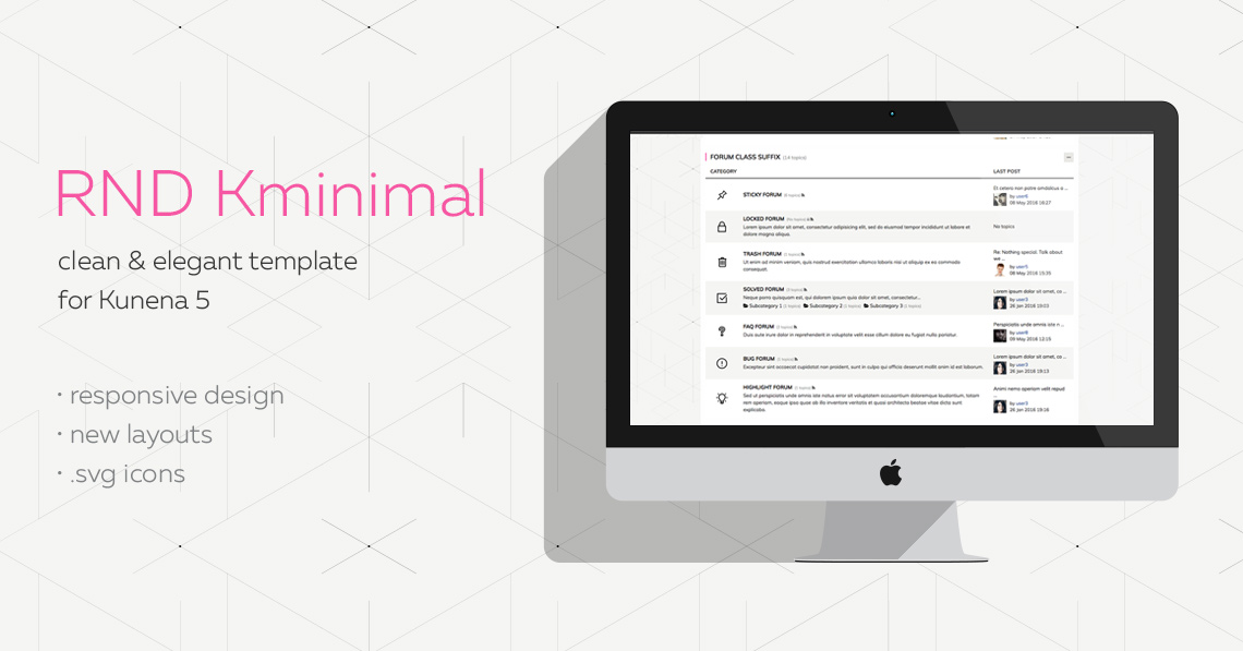 RND Kminimal template updated to ver.2.0 and is compatible with Kunena 5.1