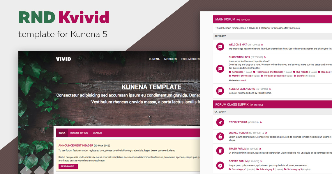 RND KVivid - the release of Kunena 5 template